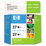 Genuine Hewlett Packard (C9322FN) HP 27 Black Ink Cartridge 2 Pack