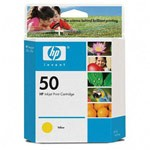 Genuine Hewlett Packard (51650Y) HP 50 Yellow Ink Cartridge