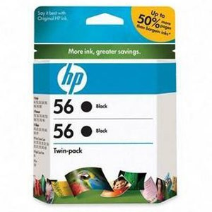 Genuine Hewlett Packard (C9319FN) HP 56 Black Ink Cartridge 2 Pack
