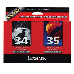 Genuine Lexmark (18C0535) #34 and #35 High Yield Ink Combo Pack