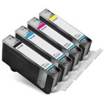 4 Pack Canon CLI-221 BK,Y,C,M, Compatible Inkjet Cartridge Set