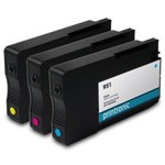 Printronic Remanufactured Ink Cartridge Replacement for HP 951 CMY - 3 Pack