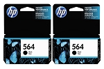 Genuine HP 564 Black Ink Cartridge - 2 Pack