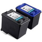 Compatible HP 27 Black Ink Cartridge and HP 22 Color Ink Cartridge - 2 Pack
