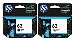 Genuine HP 63 Black and Color Ink Cartridge - 2 Pack