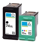 Compatible HP 74XL and  HP 75XL Ink Cartridge - 2 Pack