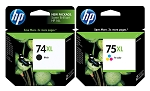 Genuine HP 74XL and HP 75XL Ink Cartridge - 2 Pack