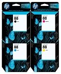 Genuine HP 88 Ink Cartridge - 4 Pack