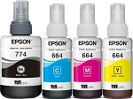 Genuine Epson 774 Black 664 Color Ink Bottle - 4 Pack