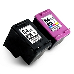 2 Pack Compatible HP 64 64XL Black and Color Ink Cartridge